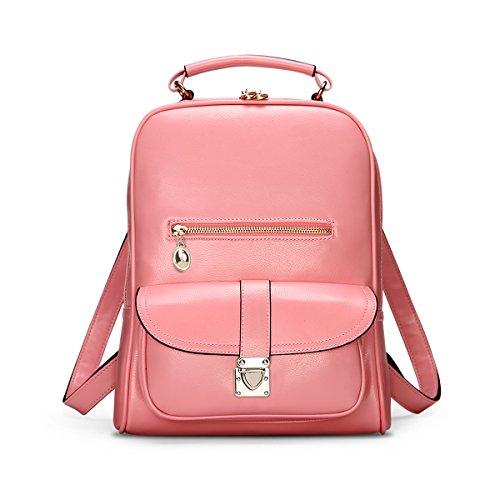 HQYSS Borse donna Donne di cuoio PU leggero Semplice selvaggio casuale zaino borsa di colore solido regolabili Bookbags impermeabili grande capacità Borsa , pink pink