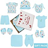 Kurtzy New Born Baby Gift Dress Pure Cotton Jabla Clothing with Nappies (0-6 Months)(Set of 8) (Blue)