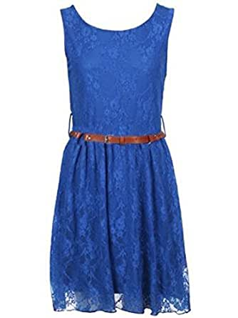WOMENS BELTED LACE SKATER DRESS SIZE 8 10 12 14 (MTC) (M/L (12-14), ROYAL BLUE)