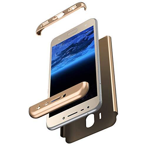 Herbests Kompatibel mit Samsung Galaxy J4 2018 Hülle 360° Rundumschutz Handyhülle Schutzhülle Komplettschutz Tasche Full Cover Front Back Double Beidseitiger Cover PC Hartschale,Gold