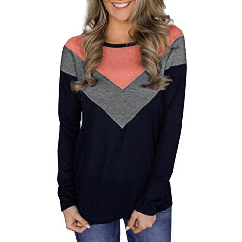 Moonuy Damenmode O-Neck Frauen Langarm Geometrische Spleißen Sweatshirt Top Farbe Splice Bluse Baumwolle Freizeithemd,damen spitze langarm bluse,damen langarm bluse (Schwarz, EU 40/Asien XL) (Gelber Mit Fisch Shirt)