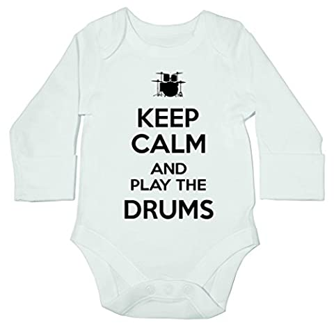 HippoWarehouse Keep Calm and Play the Drums baby bodysuit (long sleeve) boys girls