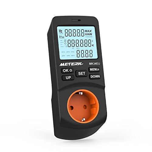 Energiemessgerät, Meterk Einstecken-LCD Watt Energiemessgerät Elektrizitäts Energie Monitor mit 12/24 Stunden Modus und 2 Modi 2 Berechnungsmethode Zeitgesteuerte Abschaltfunktion -