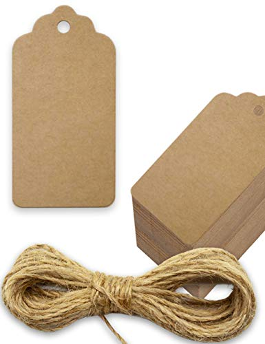 Kraftpapier, Karton, Geschenk-Anhänger, Papier-Anhänger, Tags, Label   4 x 2 cm, mit 5m Jute-Schnur, zum Geschenk verpacken   zum Beschriften, natur braun ()