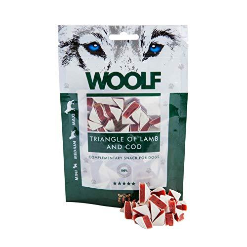 Woolf perro, Snack triangolini de cordero y merluzzo Gr.100