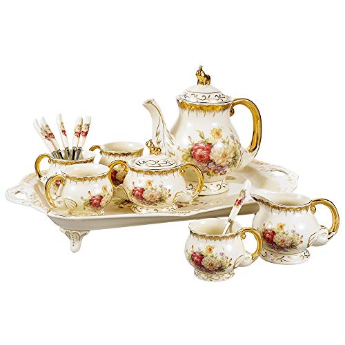 Panbado® Ivory Porcelain Ceramic Coffee Set Tea Set (Set of 12) with teapot,Tea Cup,Sugar pot,Milk jar,Spoon and Tray