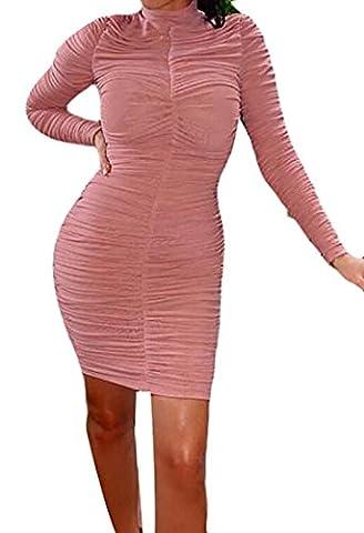 Fulok Women's Long Sleeve Bodycon Ruched Solid Mini Dress Medium Pink