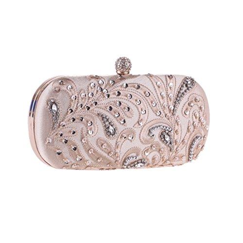 Weatly borsetta da sera fiore in rilievo con decorazioni gioiello da donna mano borsa artigianale champagne