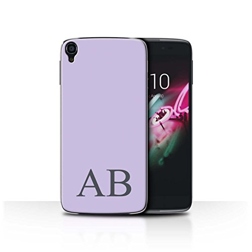 Personalisiert Pastell Monogramm Hülle für Alcatel OneTouch Idol 3 4.7 / Lila Design / Initiale/Name/Text Schutzhülle/Case/Etui Alcatel One Touch Pp
