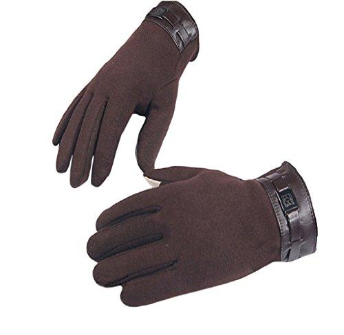 Weiß Kunstleder 5 Stück (Handschuhe, Herren Winter Vollfinger Touchscreen Kaschmir Handschuhe Handschuhe von Dragon868 (Braun))