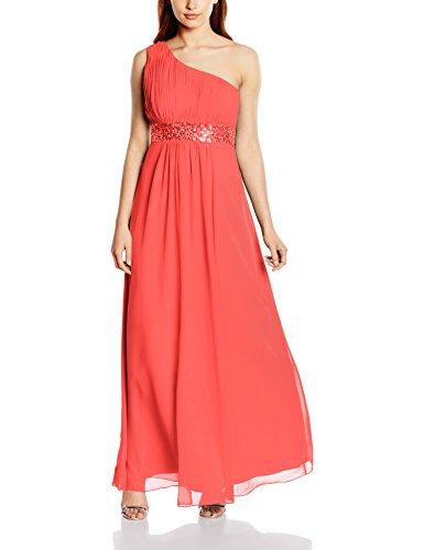 Astrapahl Damen Kleid One Shoulder mit Pailletten, Maxi, Einfarbig, Gr. 38, Rosa (Koralle)