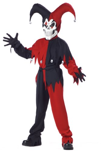 Jester Kostüm Evil Scary Kinder - Evil Jester Child Costume Black and Red Scary Halloween Fancy Dress