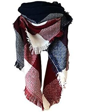 Tuopuda® Bufandas Mujer Cuadros de Enormes Grid Otoño Invierno Cálido Suave Bufanda Square
