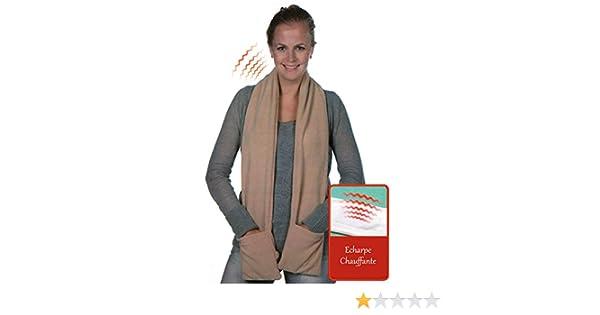 Maison futée - Echarpe chauffante à piles avec poches - Marron clair   Amazon.fr  Vêtements et accessoires 1c7c881d9ad