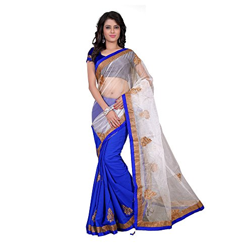 Anshika Lifestyle Half and half embroidered and embellished chiffon and net designer classy Partywear saree  available at amazon for Rs.599