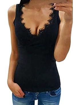 Mujer Camiseta,❤️Ba Zha Hei Mujer blusa Estampado Top con encaje de encaje transpirable blusa Moda V profundo...