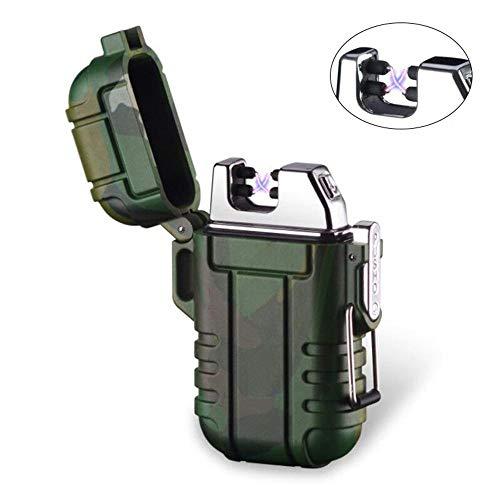 epao Dual Arc Lighter, USB wiederaufladbar, flammenloses Feuerzeug, winddicht, elektrisches Taschenfeuerzeug mit Umhängeband für Smoker Kerze Pfeife Grill Camping, Camouflage ()