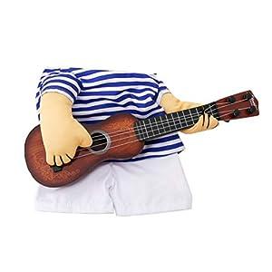 Fantasyworld Animal familier drôle de Guitare Vêtements pour Chien Guitariste Vinaigrette Costume pour Animaux de Guitare Robe Cosplay Perform Vêtements Produits pour Animaux de Compagnie