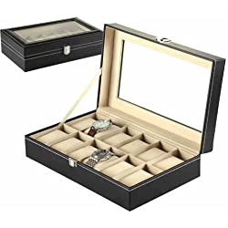 Watch Case / Display Box for 12 Watches Leather Look