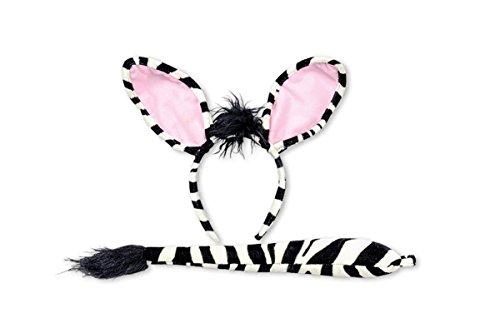 Zubehör Set zum Zebra Kostüm Haarreif Schwanz Karneval (Schwanz Zebra)