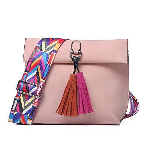 RuoYang Damen Messenger Bag Quaste Umhängetasche weiblichen Designer-Handtasche (Color : Pink, Size : 24 * 9 * 20cm) -