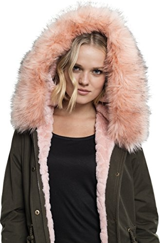 Urban Classics Damen Ladies Peached Teddy Lined Parka Grün (Darkolive 551)