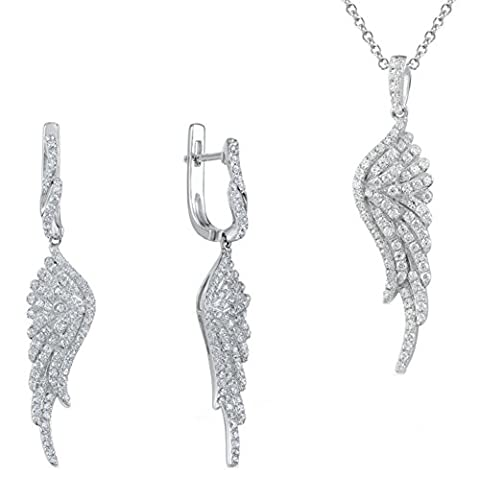 SaySure - Jewelry Sets White Cubic Zirconia Angel Wing