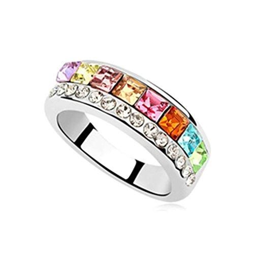 AMDXD Schmuck Damen Ring Vergoldet Kreis Runde Quadrat Bunt Hochzeitsring Größe 53 (Partner Kostüme Tumblr)