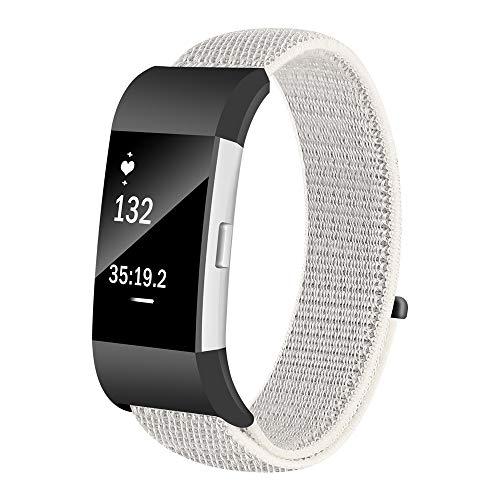FBGood Leichte Ersatz Uhrenarmband, Unisex Sportarmband Mode Weiches Nylon Schlaufe Geschäft Ersatzband Zubehör Smart Watch Armband für Fitbit Charge 2 - Fitbit-armband Faltschließe