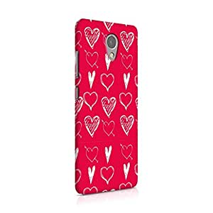 Cover Affair Hearts Printed Designer Slim Light Weight Back Cover Case for Lenovo P2 (Red)