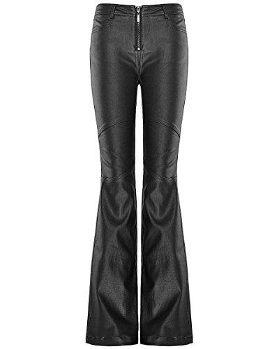 Punk Rave Donna Flare Pantaloni Jeans nero gotico Dieselpunk Bell Bottom Pantaloni Black XL