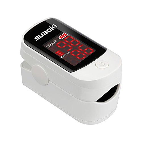 Suaoki FS10D Pulsossimetro da Dito con Display LED, per Misurazione di Frequenza Del Polso (PR) e Saturazione di Ossigeno (SpO2), Batteria Custodia Inclusa