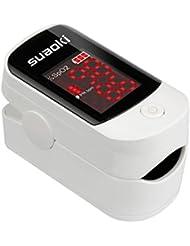 Suaoki Oxymètre de pouls avec l'écran LED Sphygmobolomètre Portable pour Enfants et Adulte Protection de Doigt avec étui
