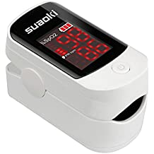 Suaoki Finger Pulse Oximeter with LED Screen Portable Blood Oxygen Meter Recording for Children and Adults Fingertip with Protective Case, Lanyard and Batteries