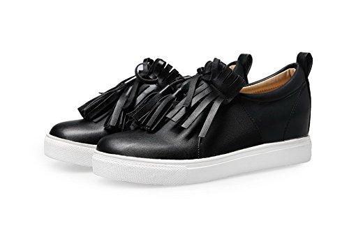 VogueZone009 Femme Fermeture D'Orteil Rond à Talon Bas Tire Couleur Unie Chaussures Légeres Noir