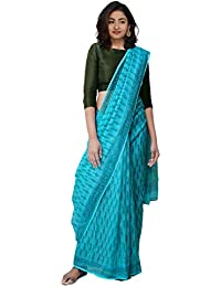 Unnati Silks Women Hand Block Printed Pure Kota Cotton Saree with blouse piece from the Weavers of Rajasthan(UNM31440+Blue+free size)