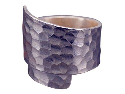 NicoWerk Silberring VINTAGE Gehämmert Breit Ring Silber 925 Verstellbar Damenringe Damen Schmuck SRI164