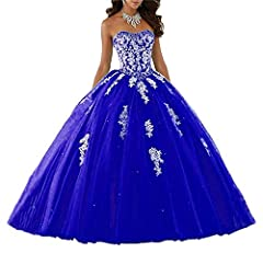 Idea Regalo - ANJURUISI Abito Quinceanera da Donna in Tulle con Applique in Pizzo e Scollo a Cuore Reale Blu-32