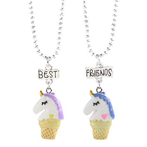 TENDYCOCO Halskette Beste Freunde Einhorn Eis Anhänger Halskette für Mädchen Kinder 2 STÜCKE