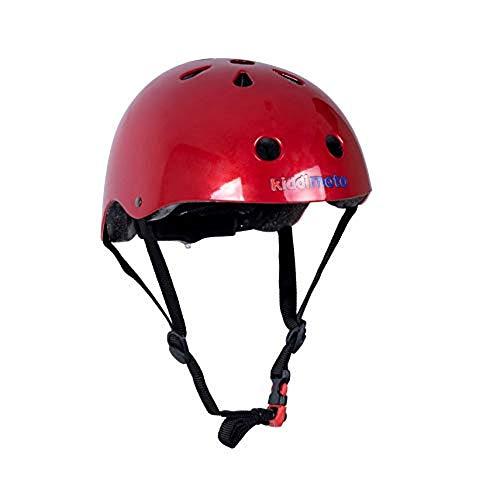 Kiddimoto Fahrrad Helm für Kinder / Fahrradhelm / Design Sport Helm für skates, roller, scooter, laufrad - Metallic Red / Rot Metallisches (S (48-53cm))