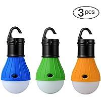 Moobom portátil recargable LED de luz para tienda de campaña de resistente al agua Camping linterna lámpara de luz de emergencia bombilla para al aire libre Camping senderismo escalada pesca o hogar coche reparación,Paquete de 3