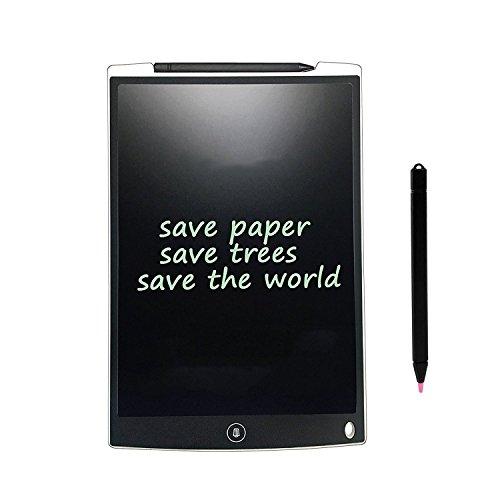 LCD Writing Tablet LCD Digital Schreibtafel Schreiben Pad/ Grafiktabletts Tablette eWriter/ Elektronische Zeichnung Grafiken Board/ Notizblock mit Stift für Schreiben und Malen papierlos umweltfreund (12''-Weiß) (Papier Schriftlich Board)