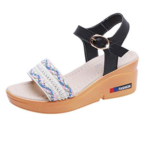 hahashop2 Sandalen Damen Sommer Schuhe, Fashion Ladies Summer Wedge mit offenen Zehen Plateausandalen 35-40