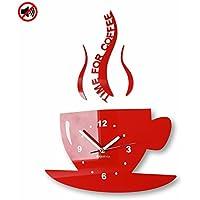 Orologio da parete da cucina tazza LA TAZZINA rossa silenzioso moderno per bar 3 d decorativo