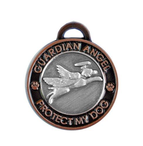Luxepets Hundehalsband Schutzengel Hund Antik Silber Kupfer -