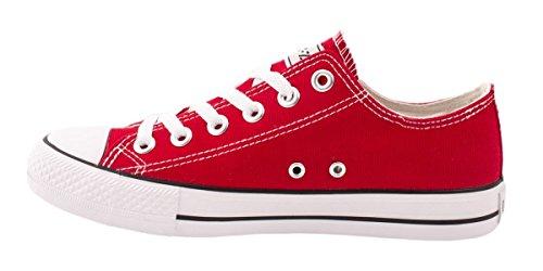 Elara Unisex Sneaker | Bequeme Sportschuhe für Herren und Damen | Low Top Turnschuh Textil Schuhe 36-46 Rot