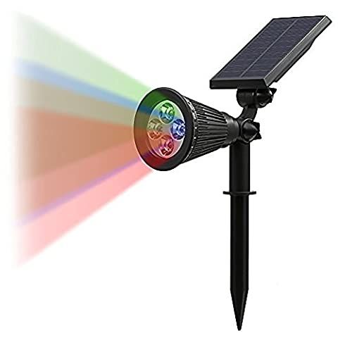 T-SUN LED Solar Spotlights ,Color-Changing 4 LED Waterproof Outdoor Security Garden Landscape Lamps,180 Angle Adjustable, Auto-on At Night/Auto-off By Day for Patio,Tree,Deck,Wall, Pool Area (Coloful)