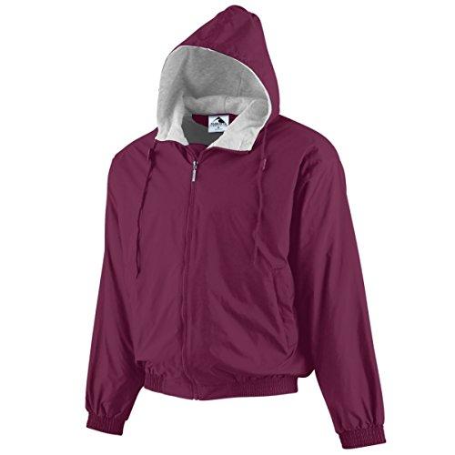 Augusta Sportswear Boys' Hooded Taffeta Jacket/Fleece Lined S Maroon Fleece-lined Hooded Nylon Jacket