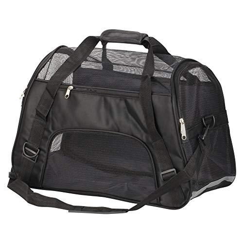 Macallen trasportino gatti morbido cane borsa trasporto per animali domestici viaggio con tappetino pieghevole grande 52 x 27 x 32 centimetri (nero)