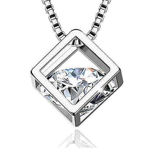 Collana donna luxray argento 925 pendente idea regalo compleanno ragazza mamma diamante elegante anniversario per lei catenina regolabile